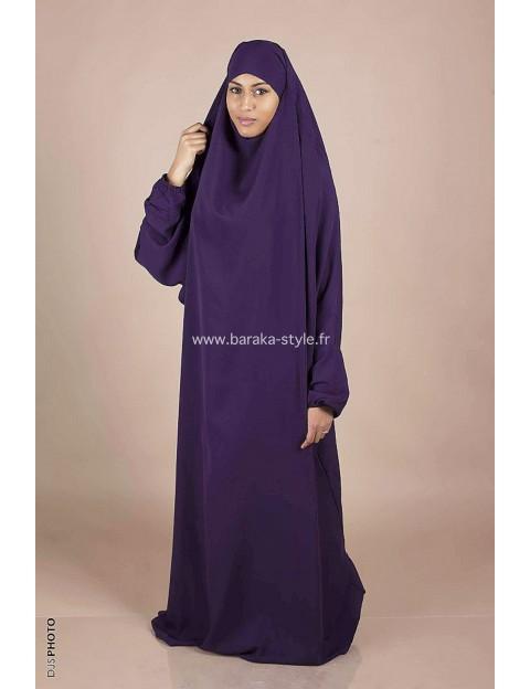Jilbab Une pièce Violet foncé
