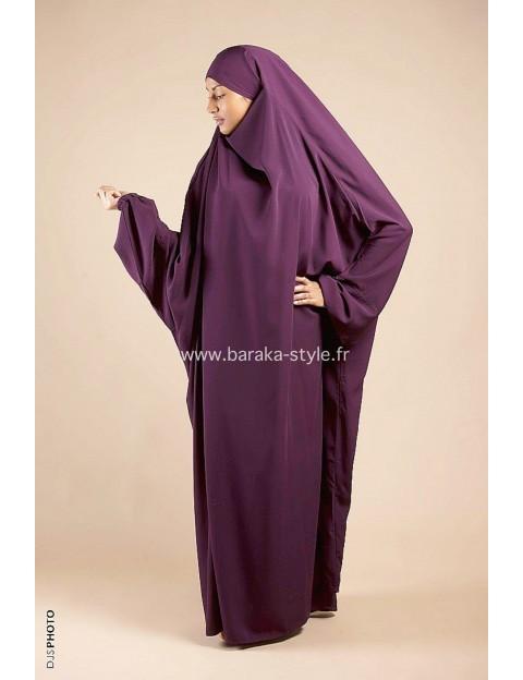 Jilbab Une pièce Prune
