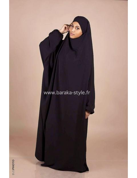 Jilbab Une pièce Noir
