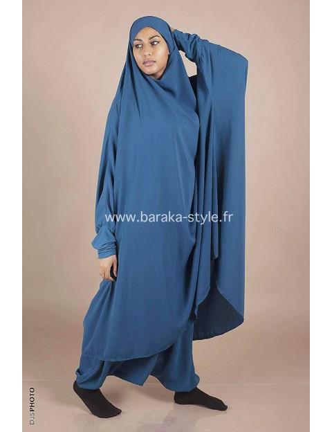 Jilbab Sarouel Bleu canard