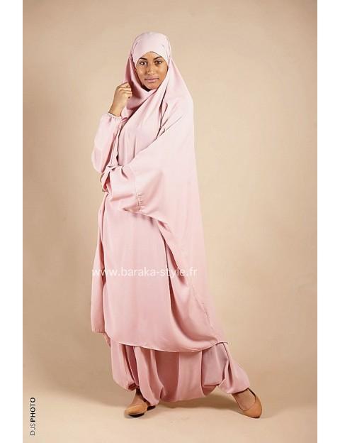 Jilbab Sarouel Rose poudré