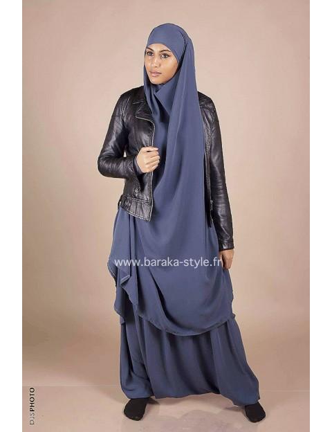 Jilbab Sarouel Gris-Bleuté