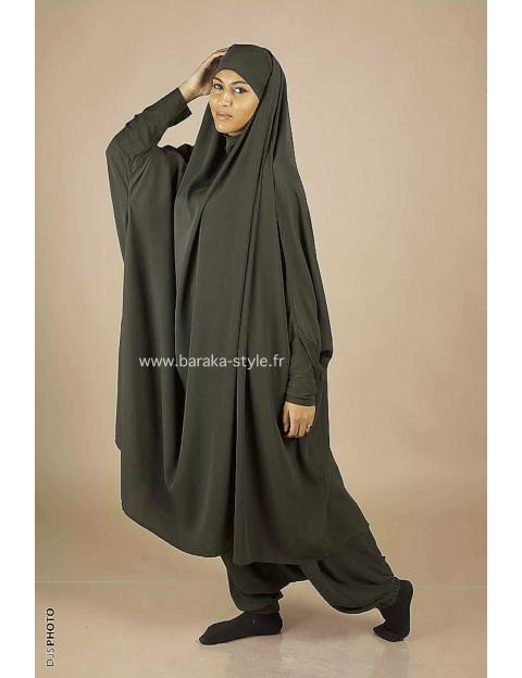 Jilbab Sarouel Vert kaki foncé