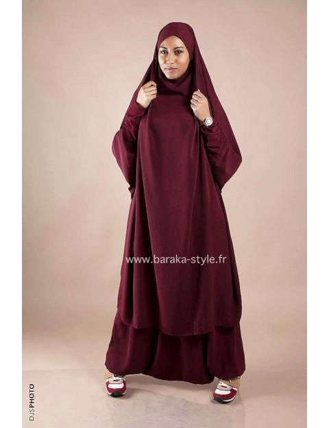 Jilbab Sarouel Rouge bordeaux