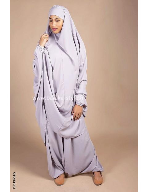 Jilbab Sarouel Gris perle