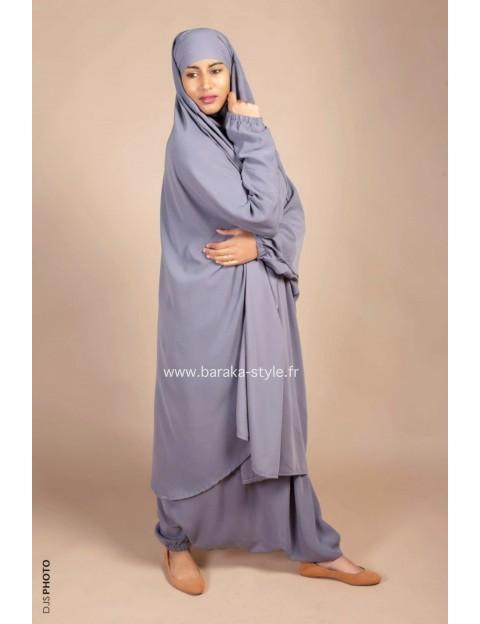 Jilbab Sarouel Gris clair